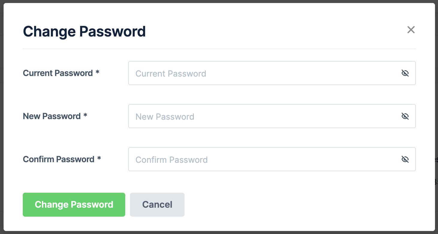 Change password on web version